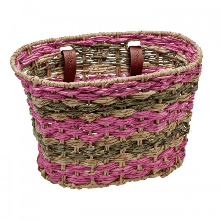 Electra Woven Palm Frond Basket natural/latte/blush