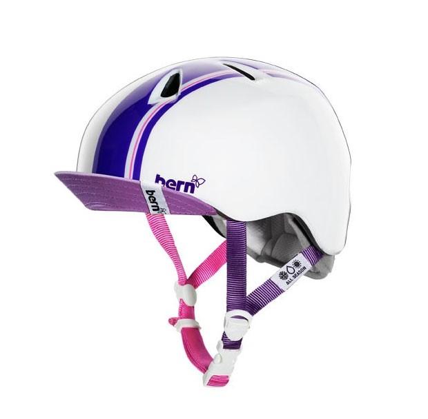 Bern Helm Nina glänzend weiß- purple racing stripes mit Flip Visor