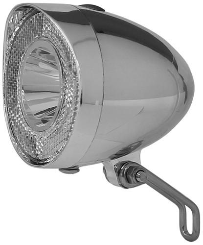LED Scheinwerfer 40 Lux chrom für Dynamobetrieb