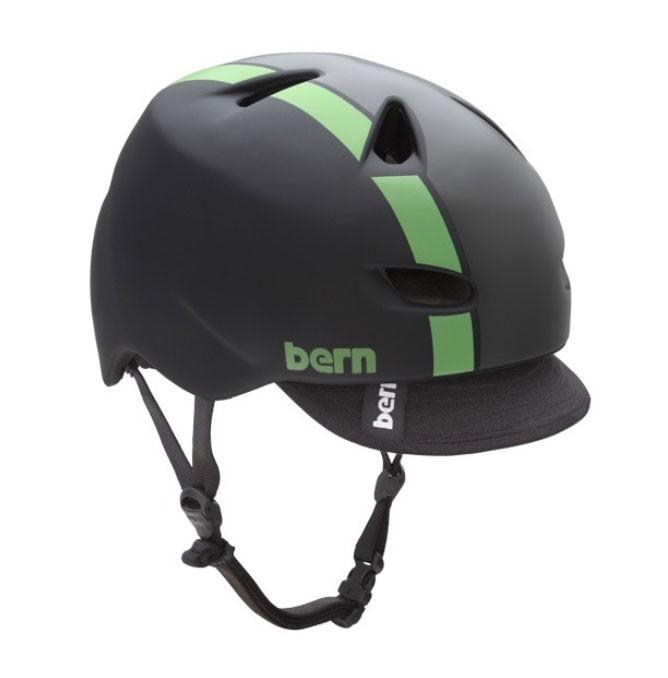 Bern Brentwood matte black w/ green Stripe -L-