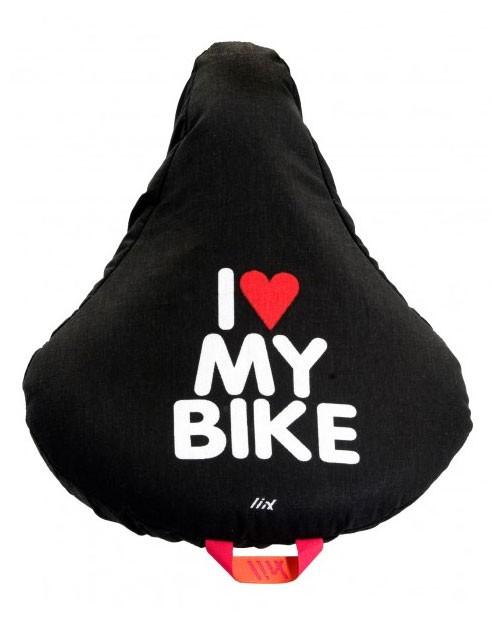 Sattelbezug I love my bike, schwarz