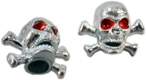 Valve Caps Skull&Bones, silver w/red eyes
