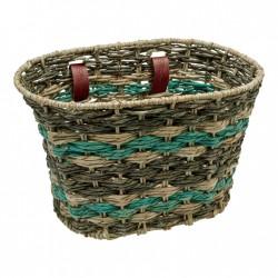 Electra Woven Palm Frond Basket espresso/seafoam