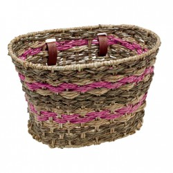Electra Woven Palm Frond Basket espresso/pink