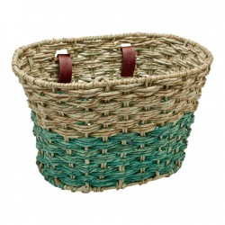 Electra Woven Palm Frond Basket natural/seafoam