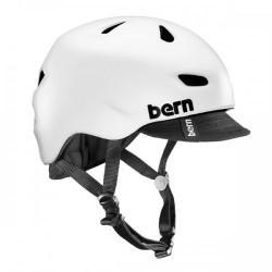 Bern Brentwood satin white w/ flip visor