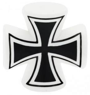 Valve Caps Iron Cross 3-D, white